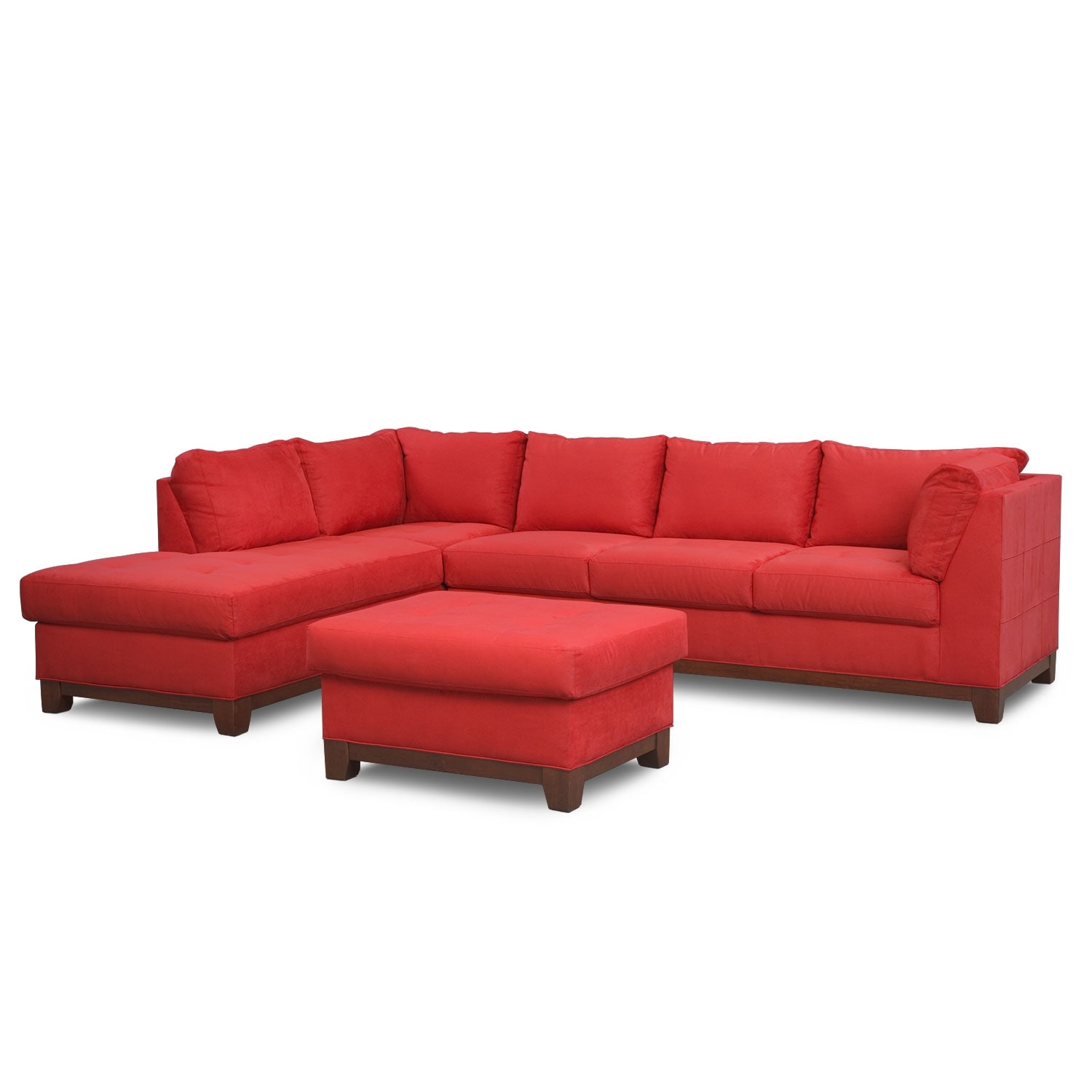 Living Room Furniture - Soho 2-Piece Sectional with Left-Facing Chaise and Ottoman - Red