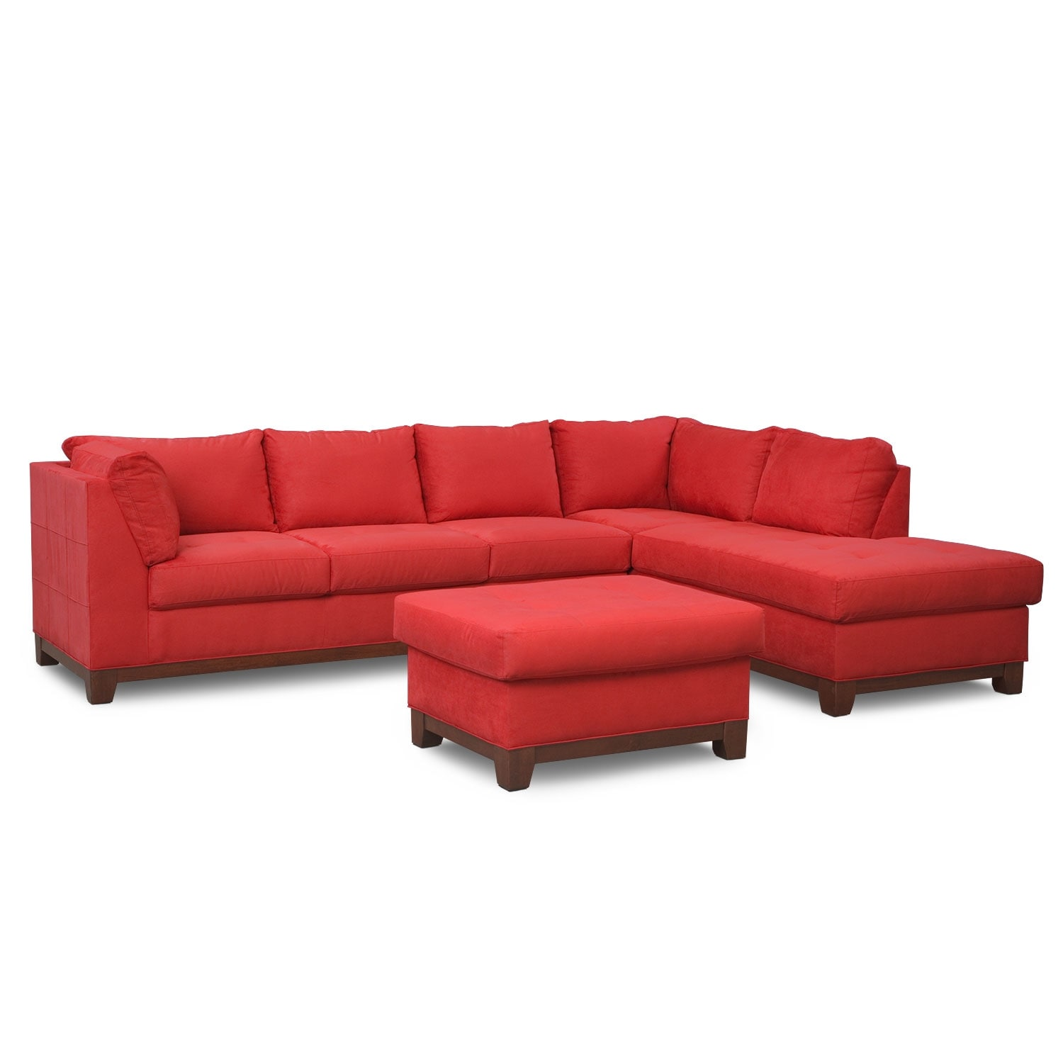 Soho 2-Piece Sectional with Right-Facing Chaise and Ottoman - Red