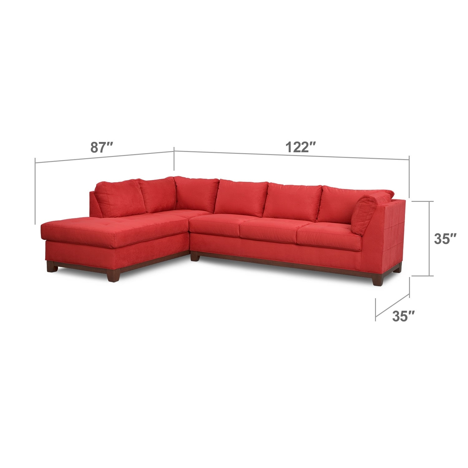 Living Room Furniture - Soho 2-Piece Sectional with Left-Facing Chaise - Red