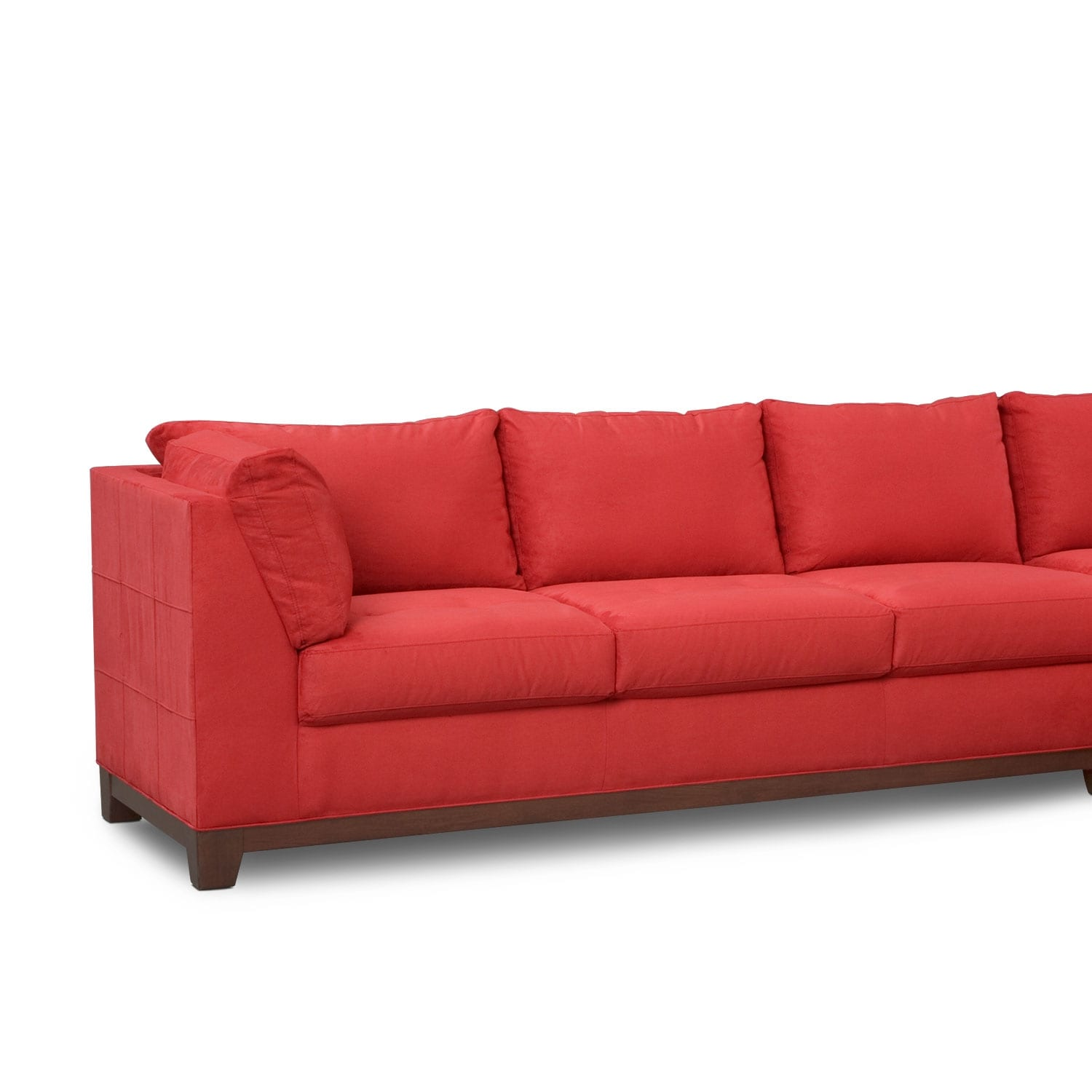 Soho 2 piece sectional with right facing chaise red for American signature furniture commercial chaise