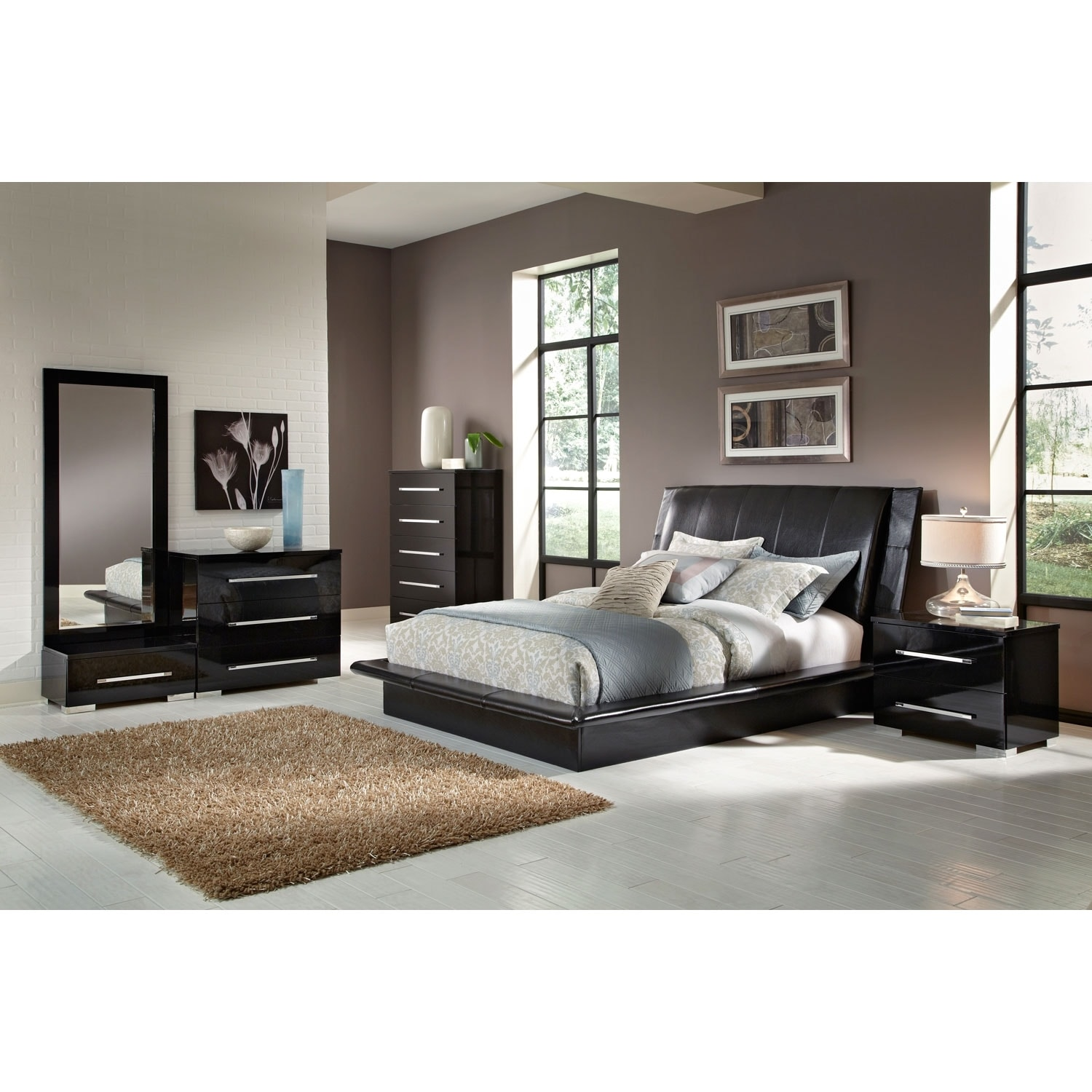 Dimora 7-Piece Queen Upholstered Bedroom Set - Black | American ...