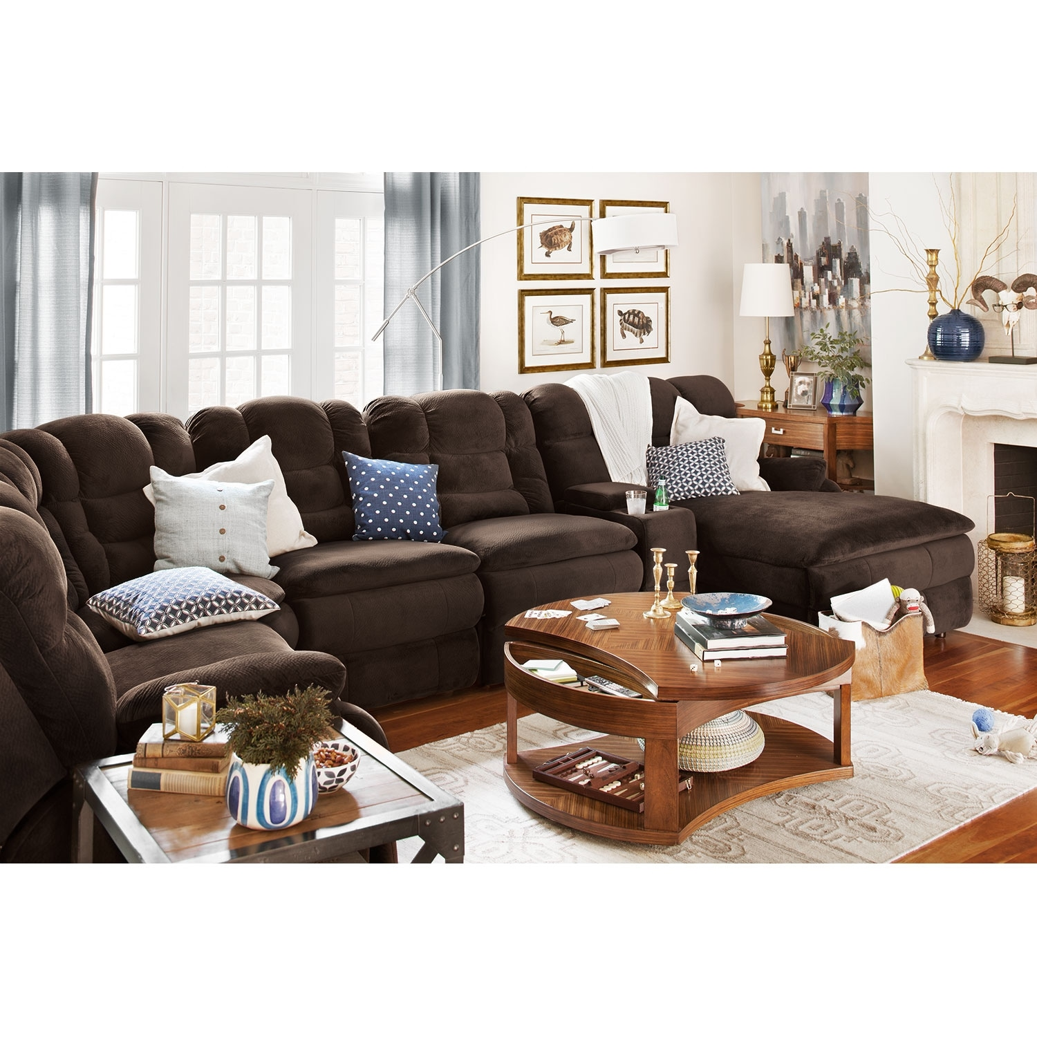 Big softie 6 pc power reclining sectional american for 6 pc sectional living room