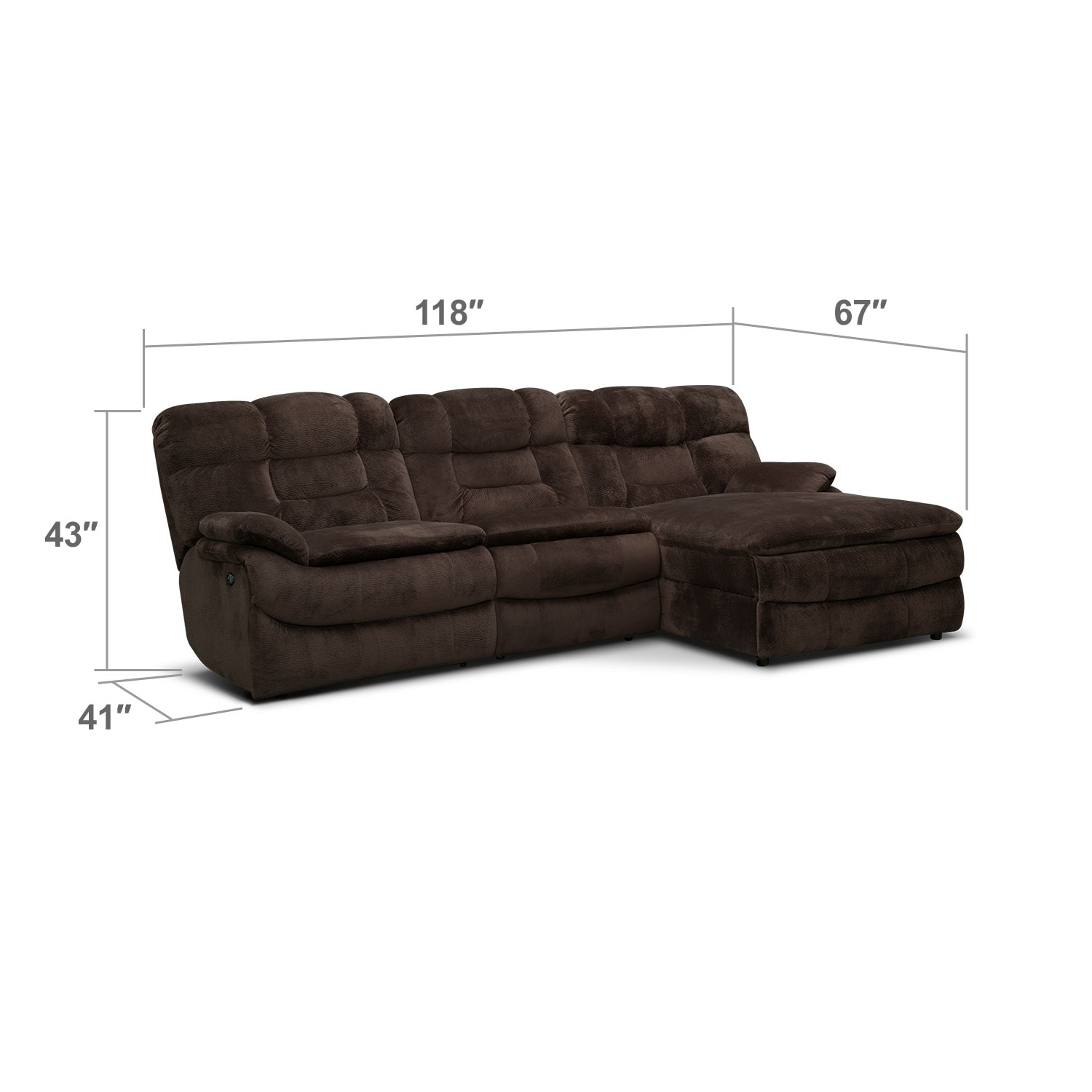 Living Room Furniture   Big Softie 3 Piece Power Reclining Sectional With  Right Facing