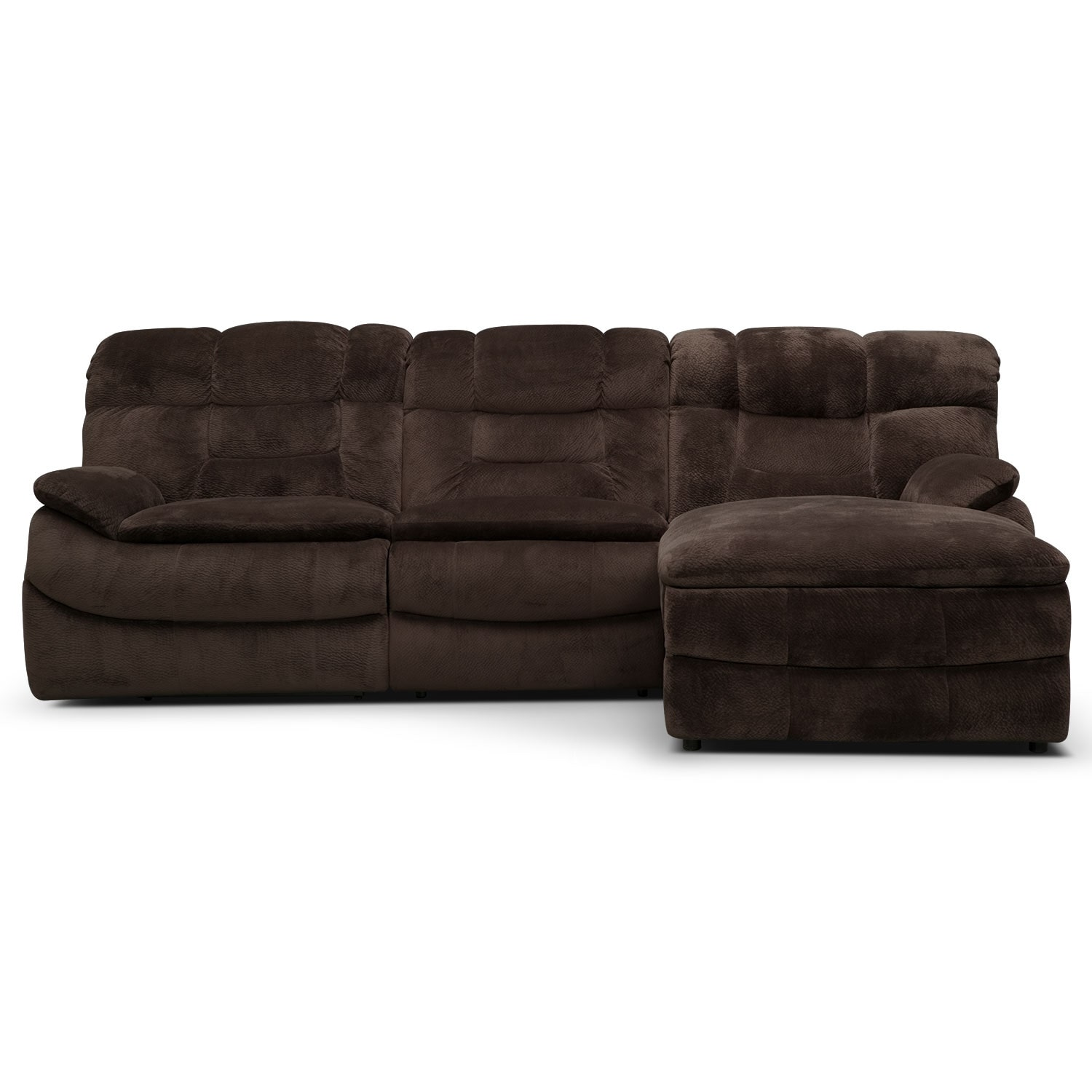 Big Softie 3 Piece Power Reclining Sectional With Right Facing  ~ Chocolate Sectional Sofa Set With Chaise