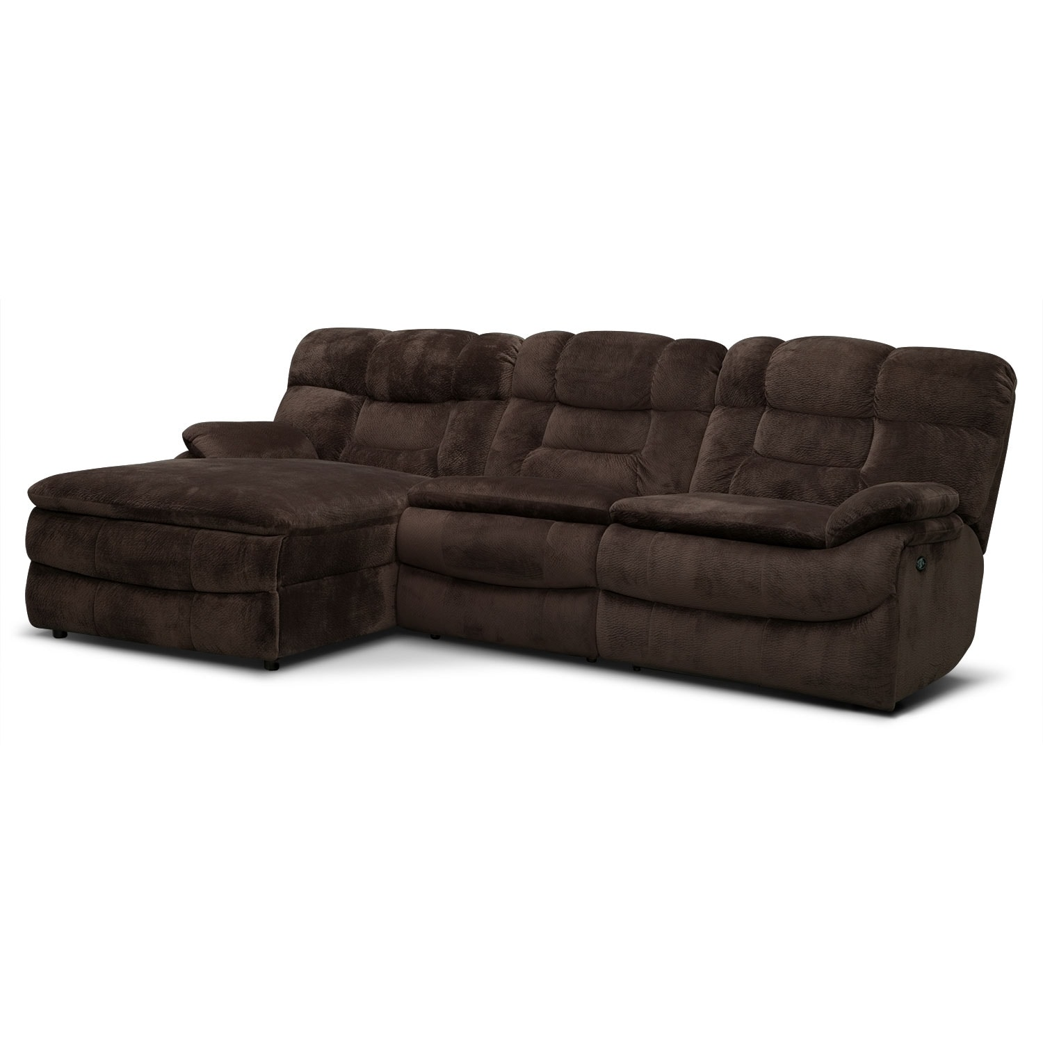 Living Room Furniture - Big Softie 3-Piece Left-Facing Power Reclining Sectional - Chocolate