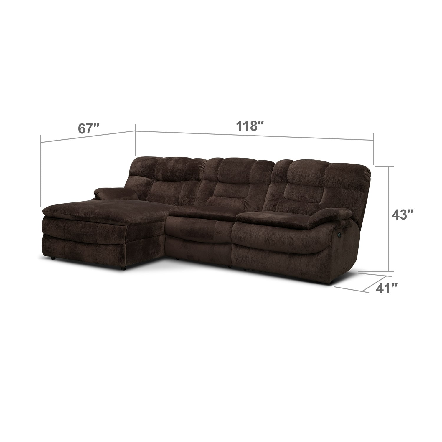 Living Room Furniture - Big Softie 3-Piece Power Reclining Sectional with Left-Facing Chaise - Chocolate