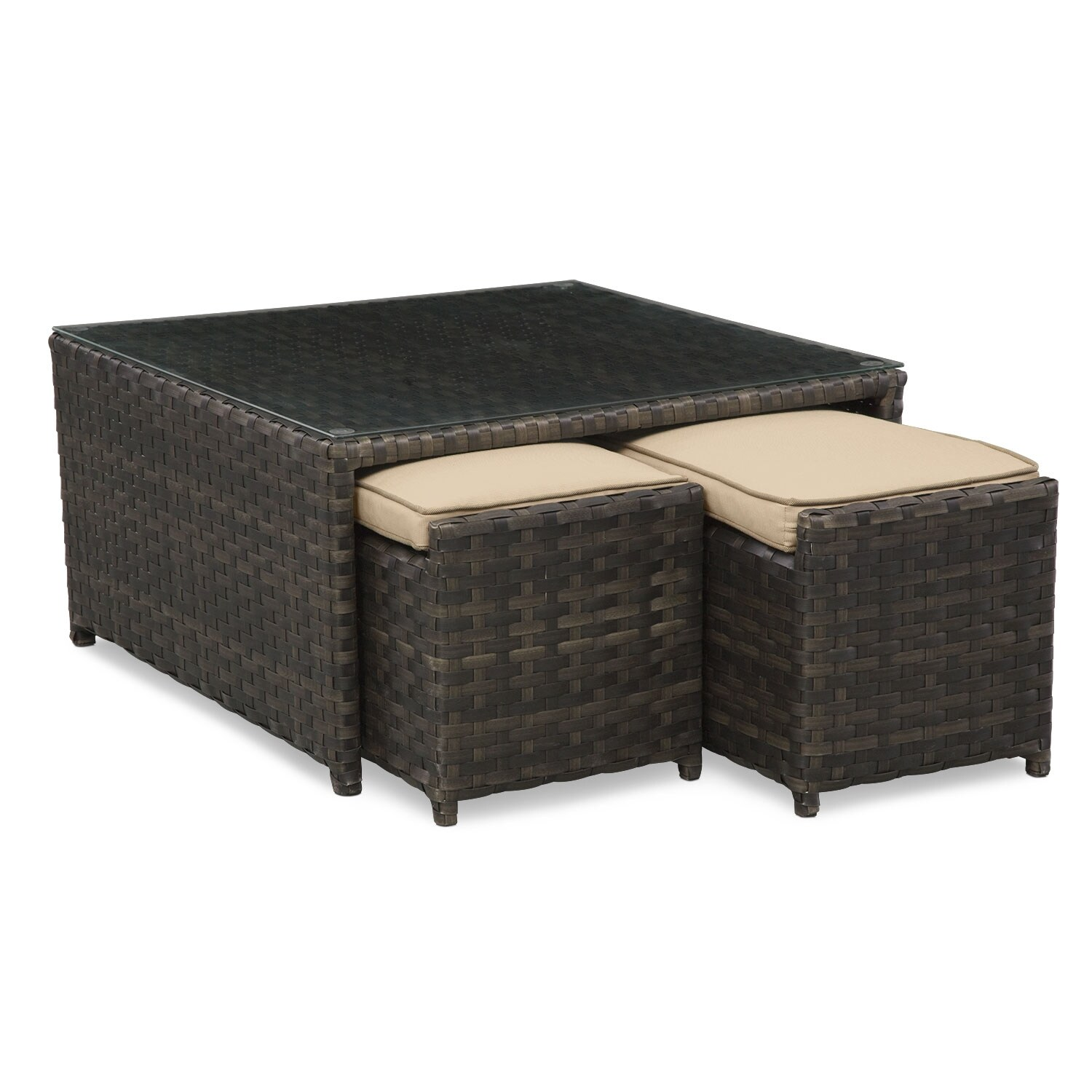 Outdoor Furniture - Regatta 3-Piece Nesting Cocktail Table - Brown