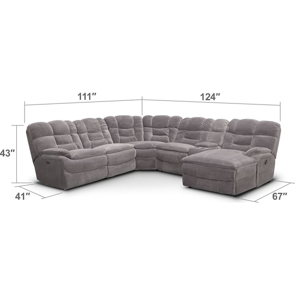 Living Room Furniture - Big Softie 6-Piece Power Reclining Sectional with Right-Facing Chaise - Gray