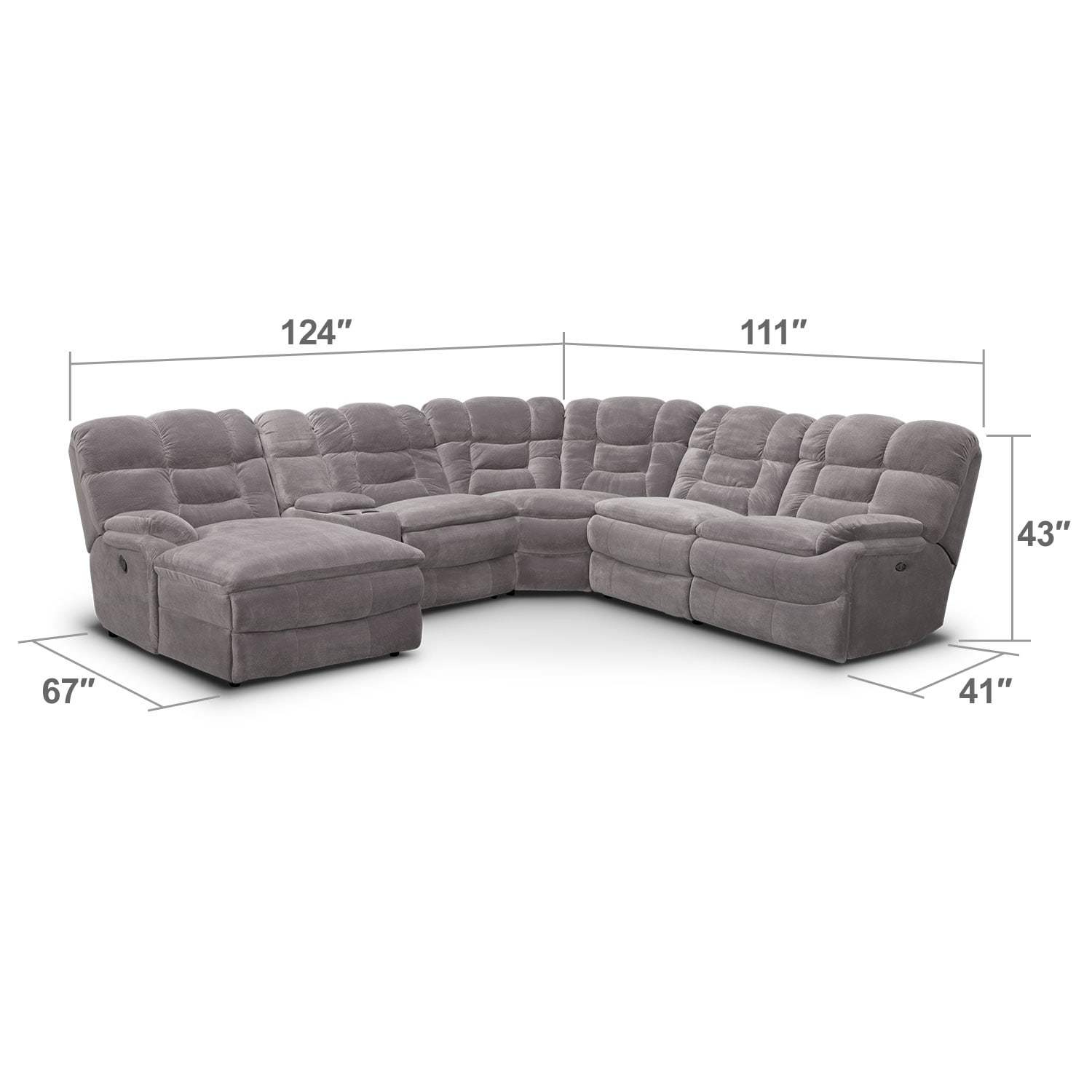 Living Room Furniture - Big Softie II 6 Pc. Power Reclining Sectional (Reverse)