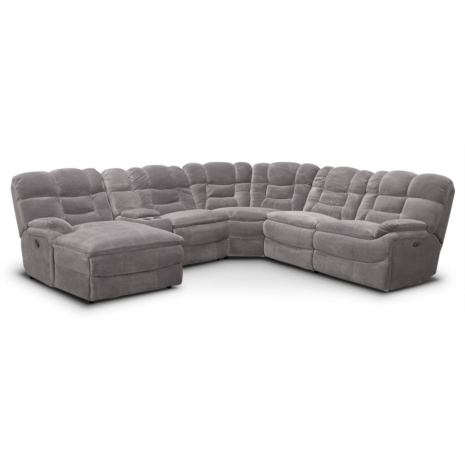 Living Room Furniture - Big Softie 7-Piece Dual-Power Reclining Sectional with Chaise and 2 Reclining Seats