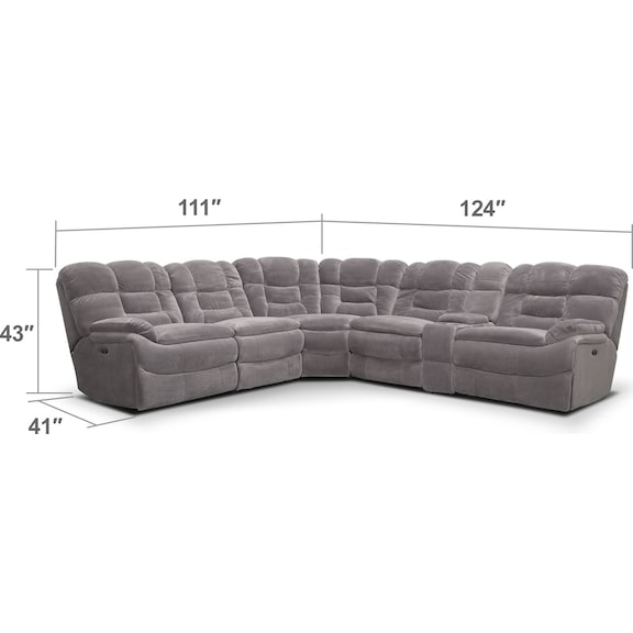 Living Room Furniture - Big Softie 6-Piece Power Reclining Sectional - Gray