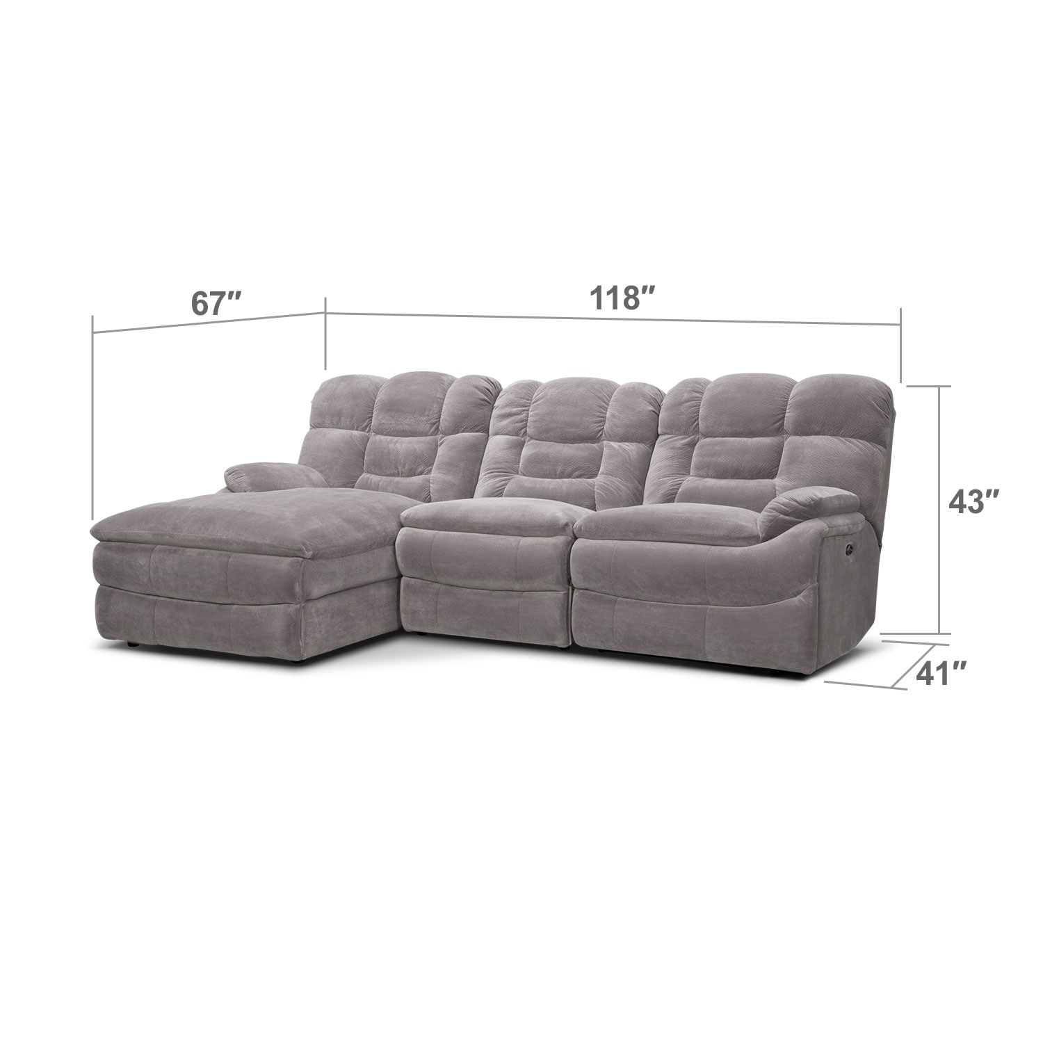Living Room Furniture - Big Softie 3-Piece Power Reclining Sectional with Left-Facing Chaise - Gray