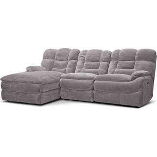 Big Softie 3-Piece Power Reclining Sectional with Left-Facing Chaise - Gray