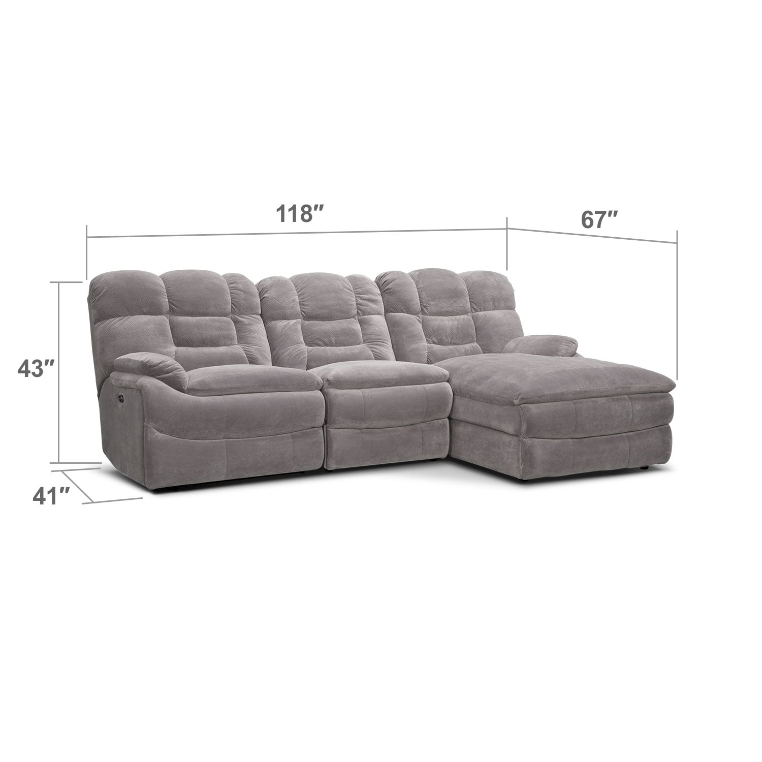 Living Room Furniture - Big Softie 3-Piece Power Reclining Sectional with Right-Facing Chaise - Gray