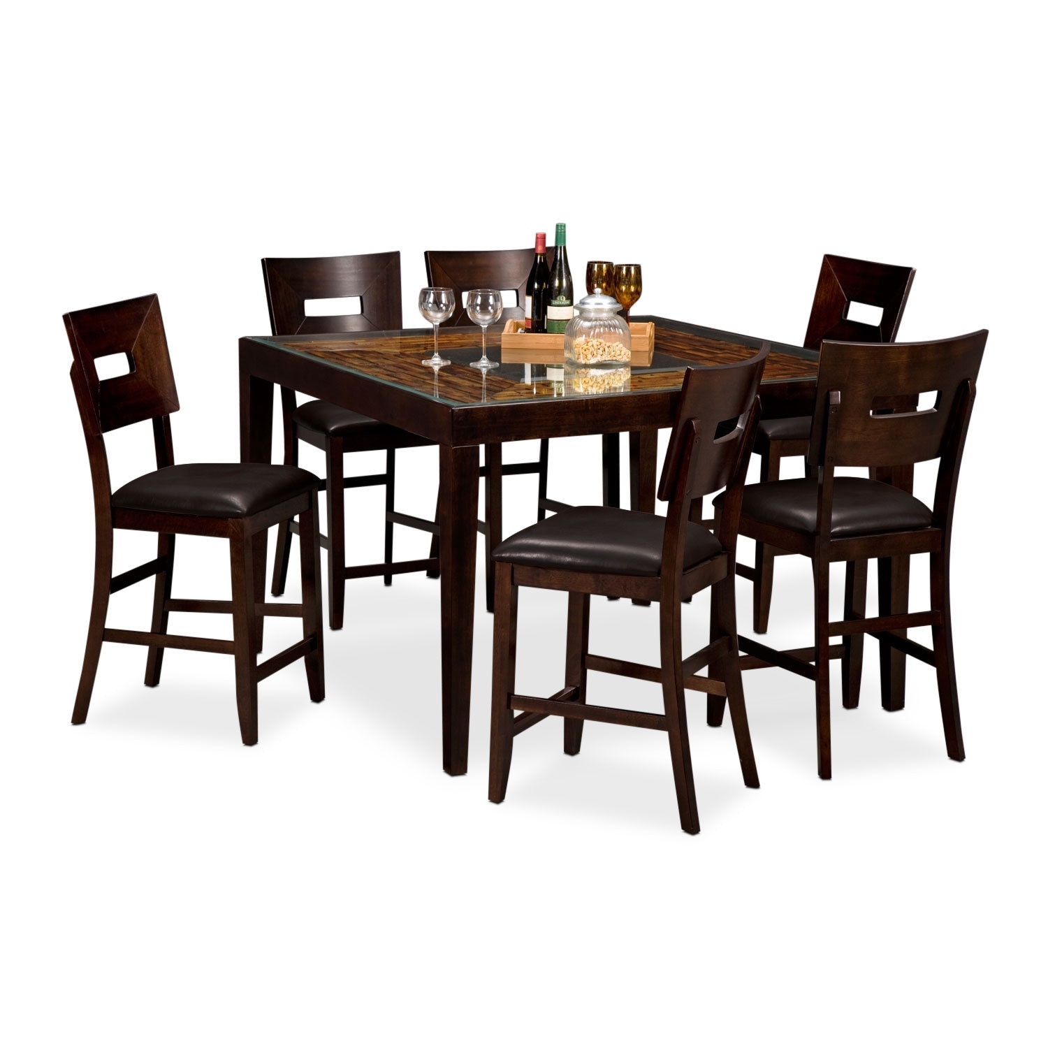 Dining Room Furniture - Cyprus II 7 Pc. Counter-Height Dinette