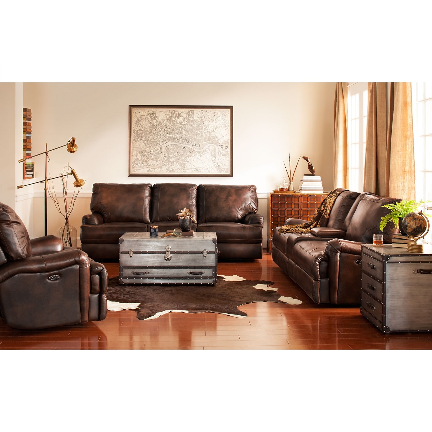 Living Room Furniture - Kingsway 3 Pc. Power Reclining Living Room