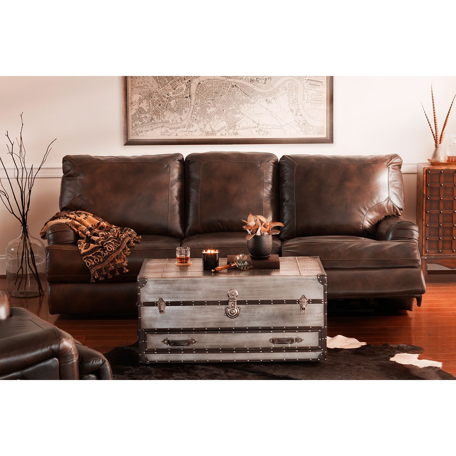 Kingsway Power Reclining Sofa Brown