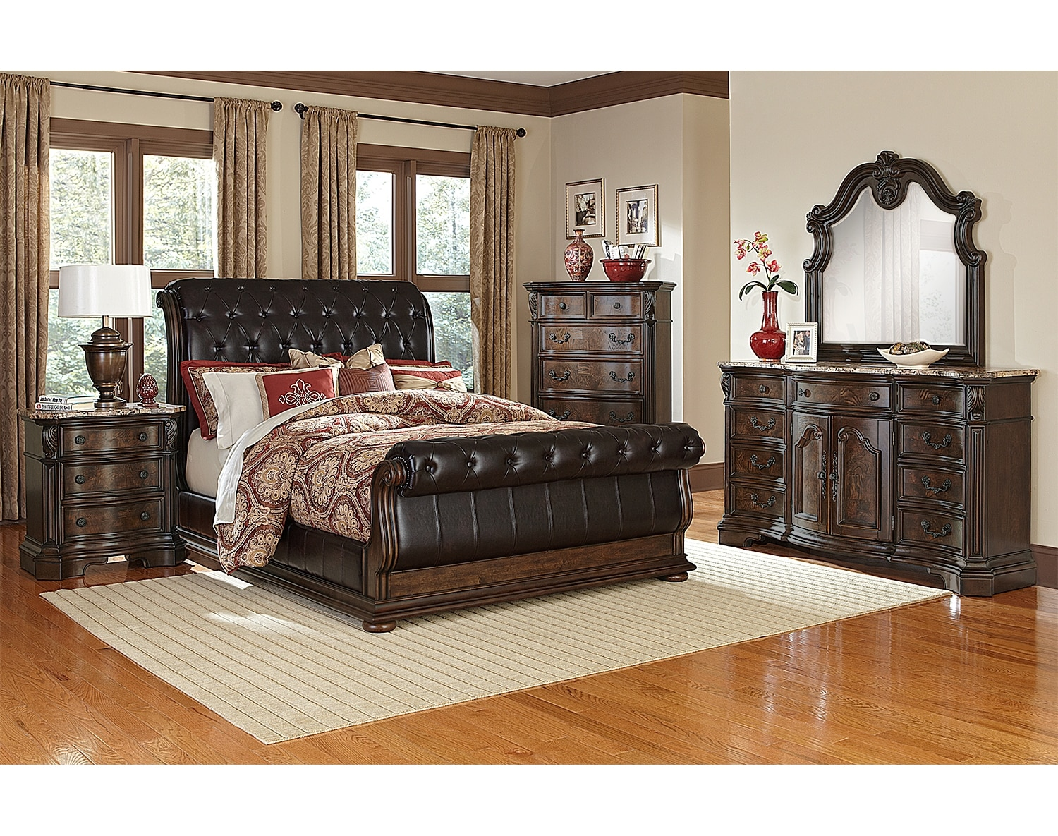 The Monticello Sleigh Bedroom Collection - Pecan