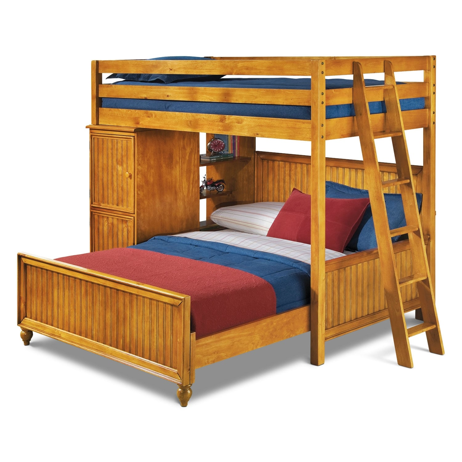 colorworks loft bed with full bed honey pine - Loft Bed Frame Full