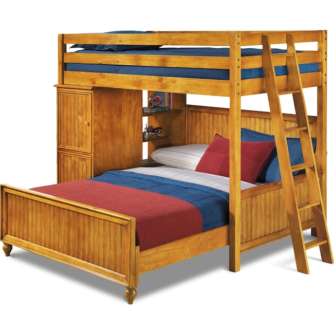 Colorworks Loft Bed With Full Bed Honey Pine American Signature