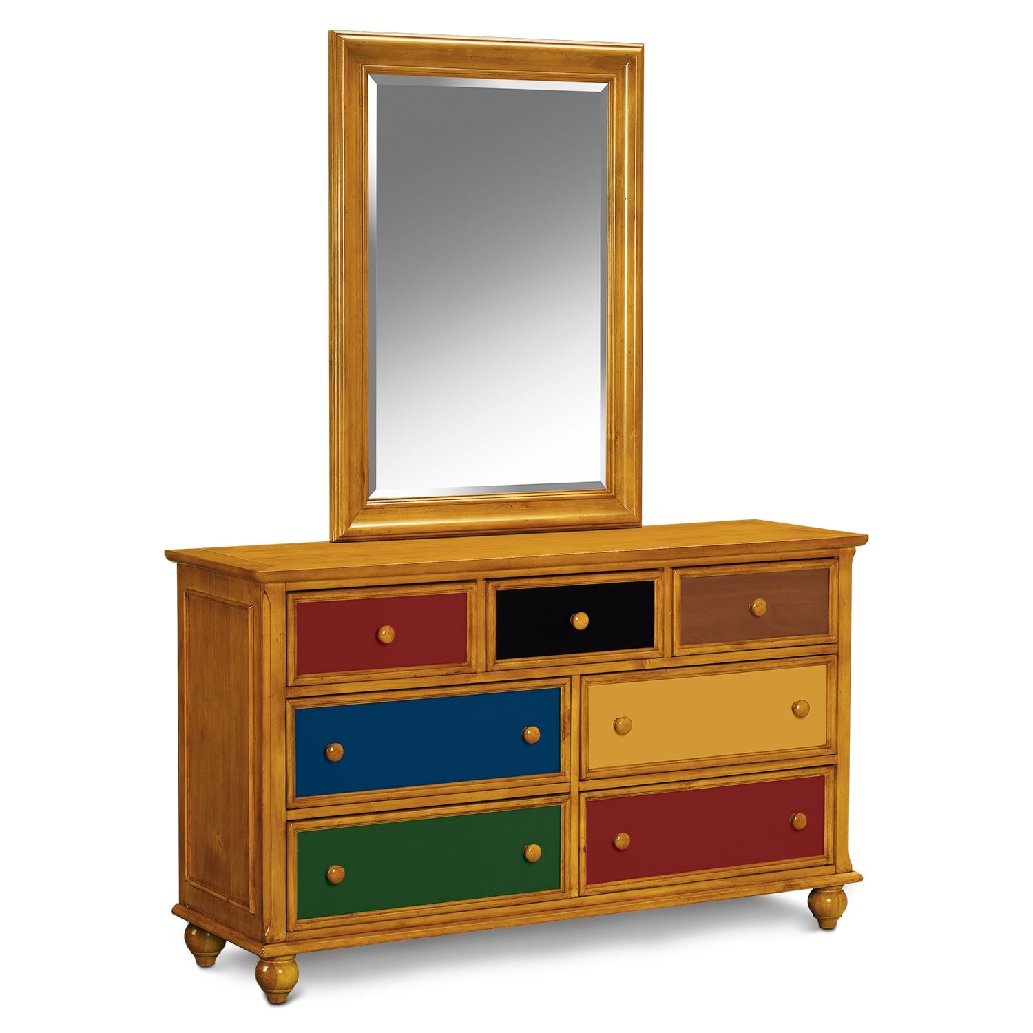 $599.99 Colorworks Dresser And Mirror   Honey Pine