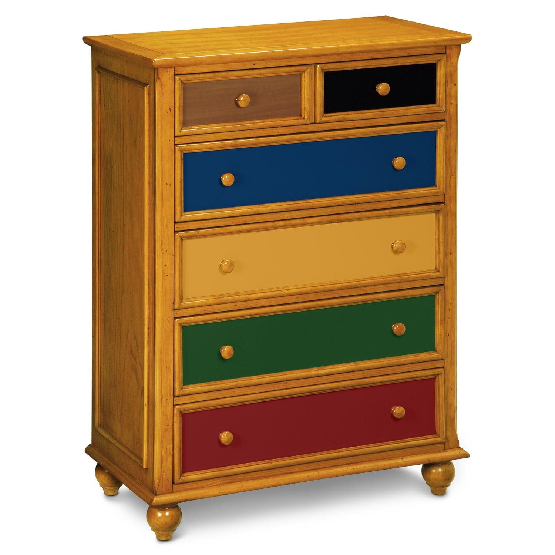 Kids Furniture - Colorworks Chest - Honey Pine