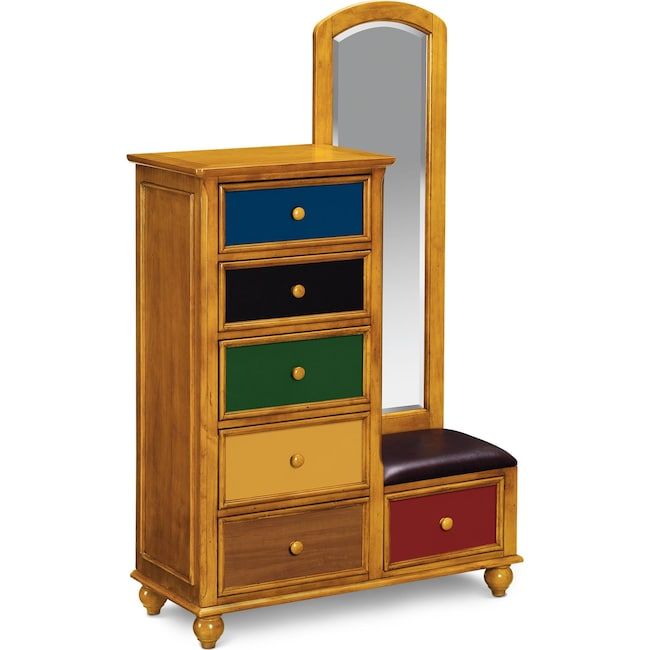 Kids Furniture - Colorworks Tall Chest and Mirror - Honey Pine