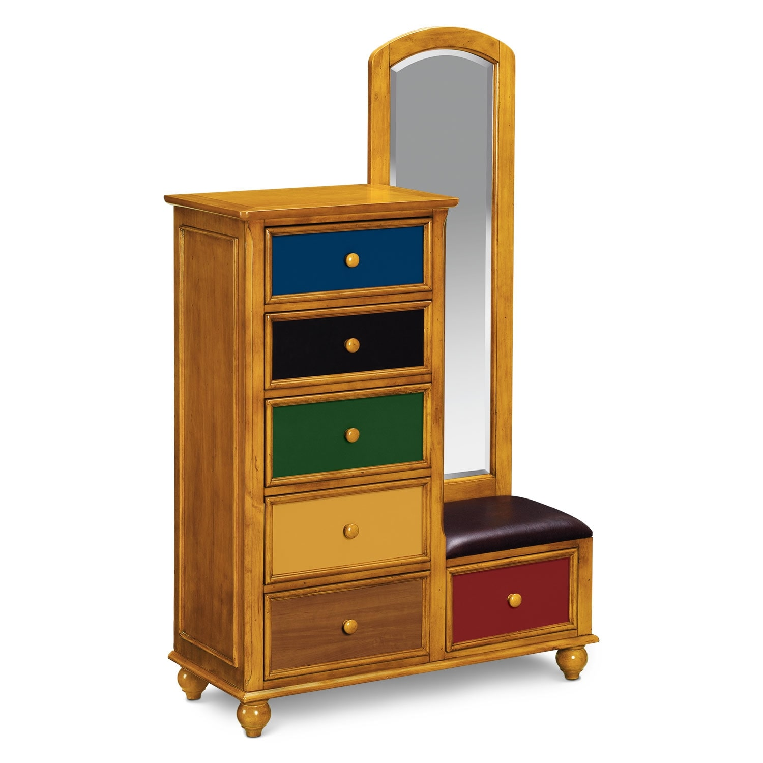 $499.99 Colorworks Tall Chest And Mirror   Honey Pine