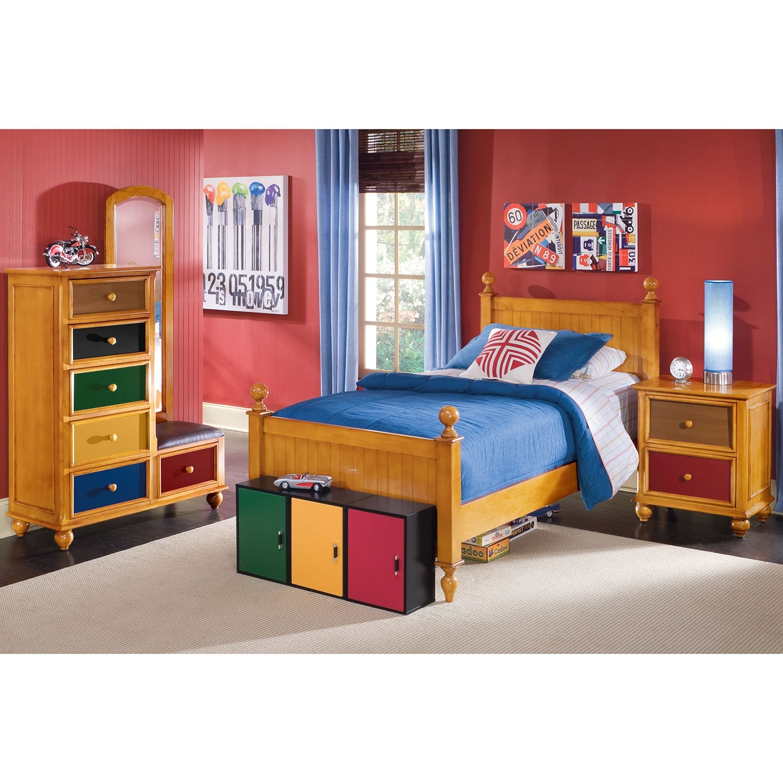 Colorworks Nightstand Honey Pine American Signature Furniture