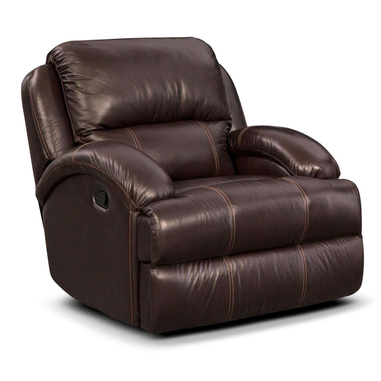 Living Room Furniture - Nolan Glider Recliner - Chocolate