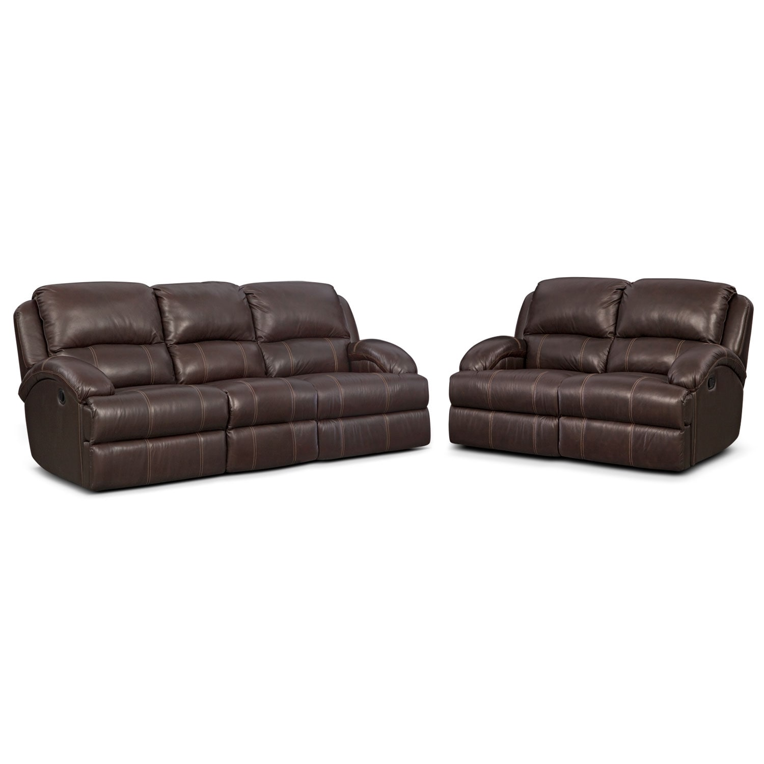 Nolan Dual Reclining Sofa and Reclining Loveseat Set - Chocolate