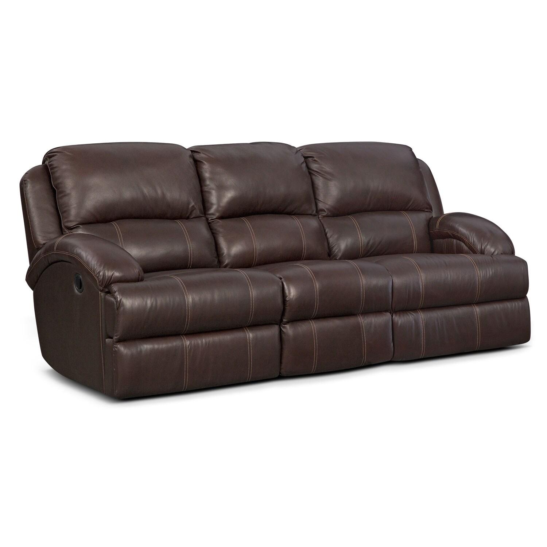 Living Room Furniture - Nolan Dual Reclining Sofa - Chocolate