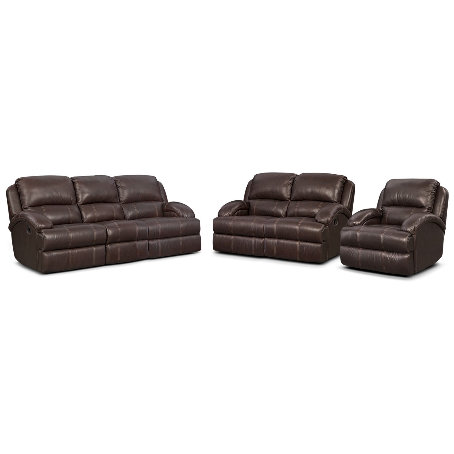 Nolan Dual Reclining Sofa, Reclining Loveseat and Glider Recliner Set - Chocolate