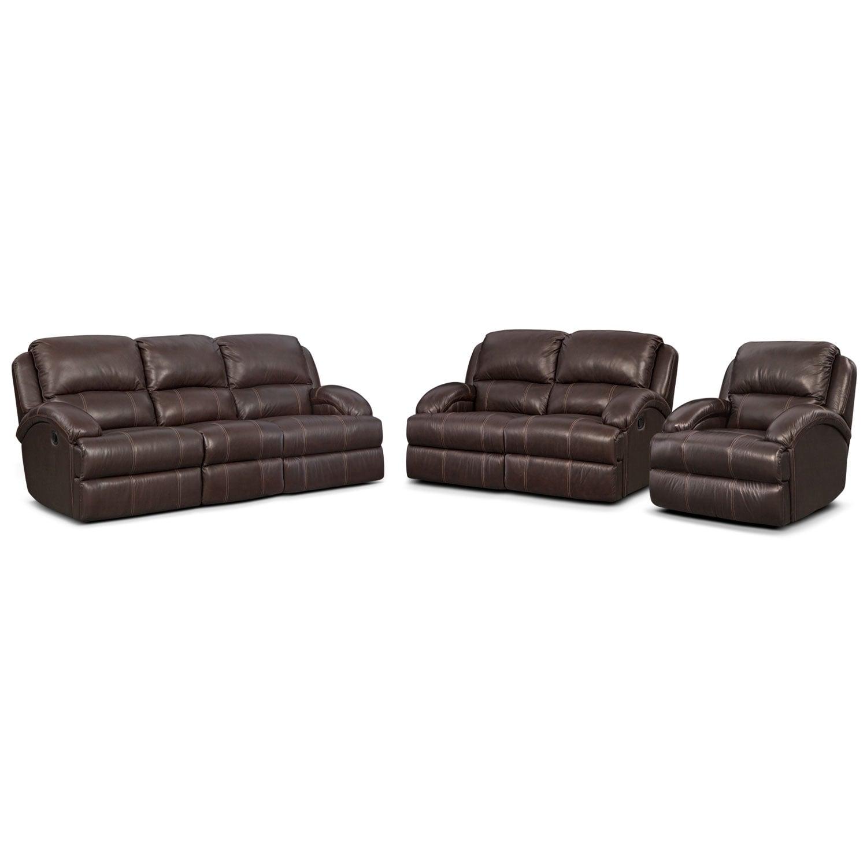 Living Room Furniture - Nolan Dual Reclining Sofa, Reclining Loveseat and Glider Recliner Set - Chocolate
