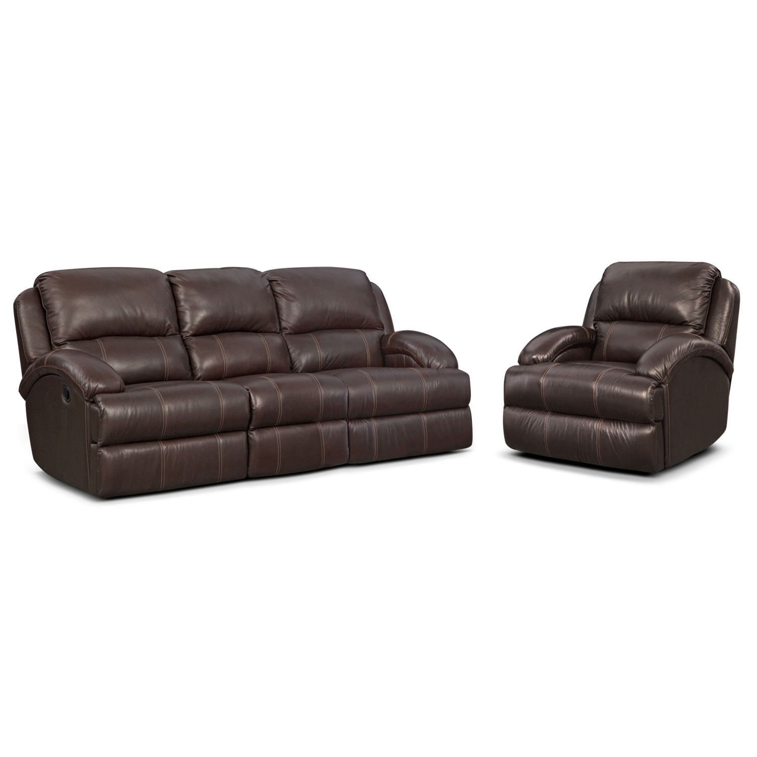 Nolan Dual Reclining Sofa and Glider Recliner Set - Chocolate