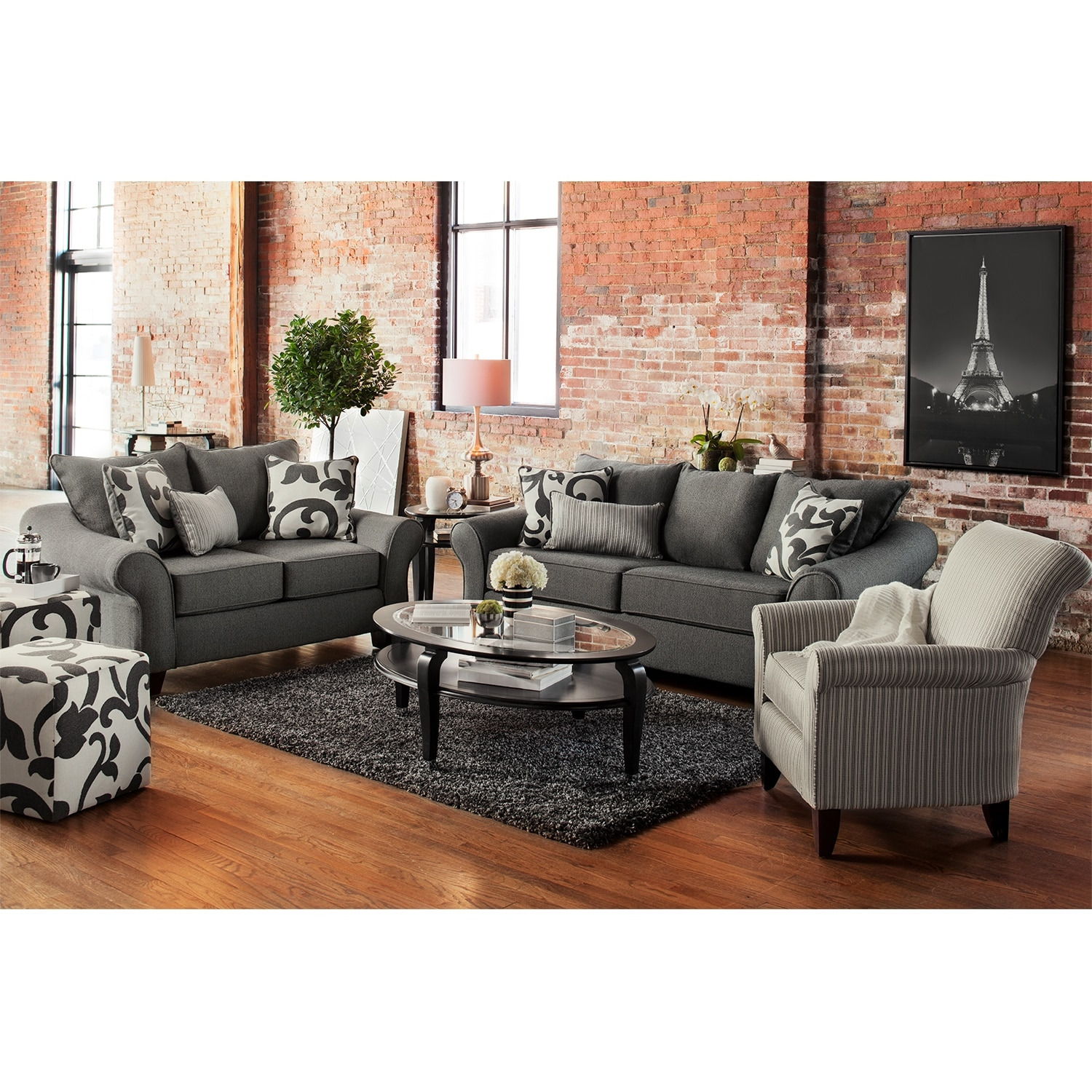 Colette Sofa Loveseat And Accent Chair Set Gray American Signature Furniture