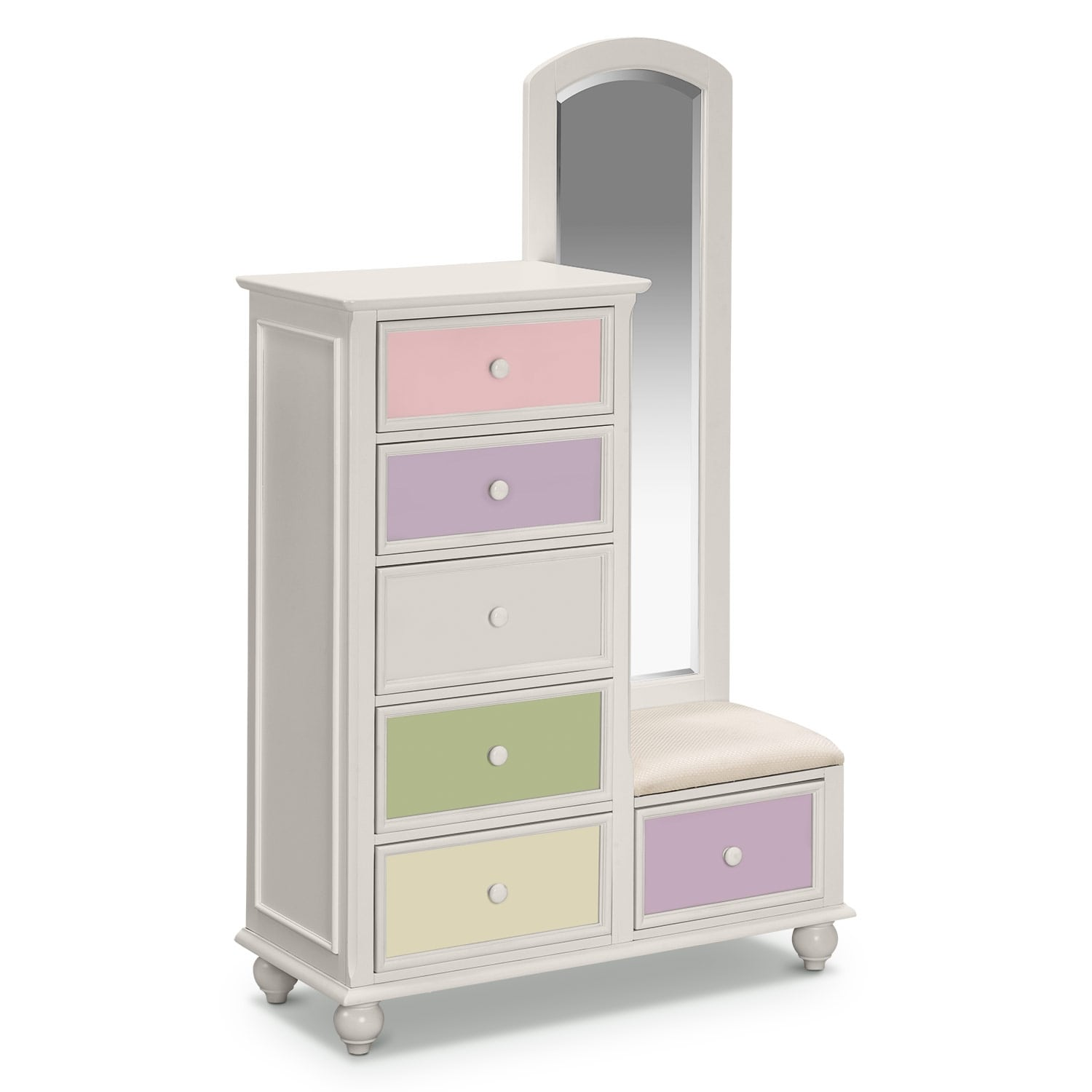 Colorworks Tall Chest and Mirror - White