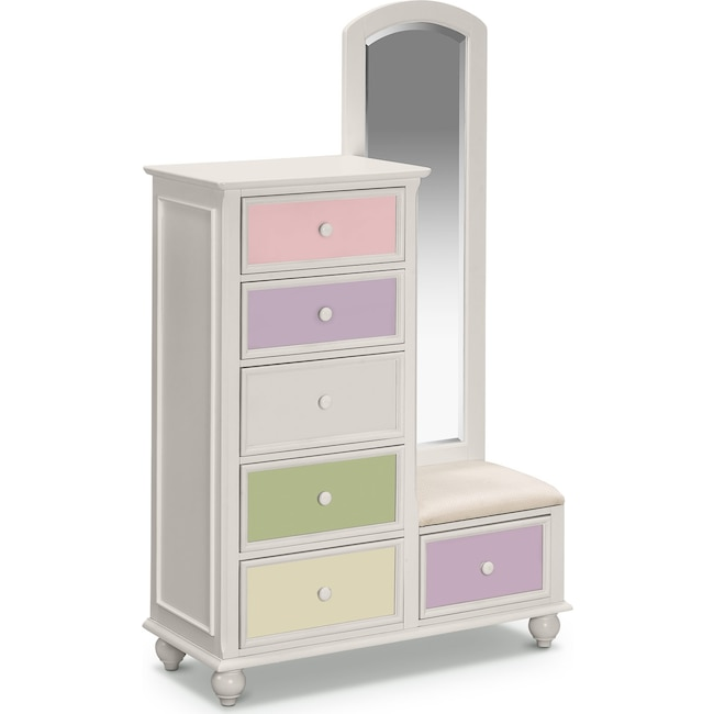 Kids Furniture - Colorworks Tall Chest and Mirror - White