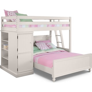 Colorworks Loft Bed with Full Bed - White