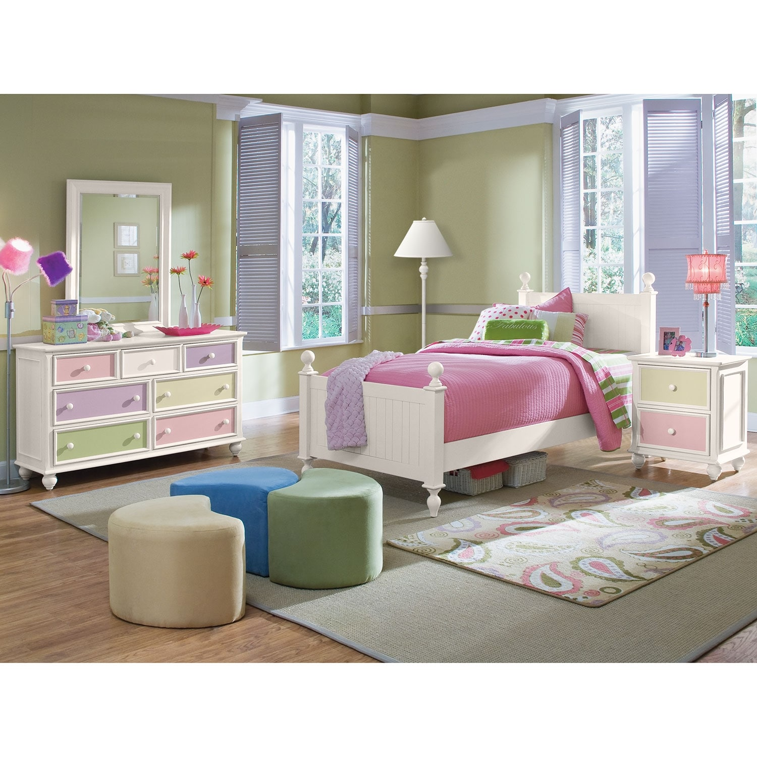 Kids Furniture - Colorworks 6-Piece Bedroom Set with Nightstand, Dresser and Mirror