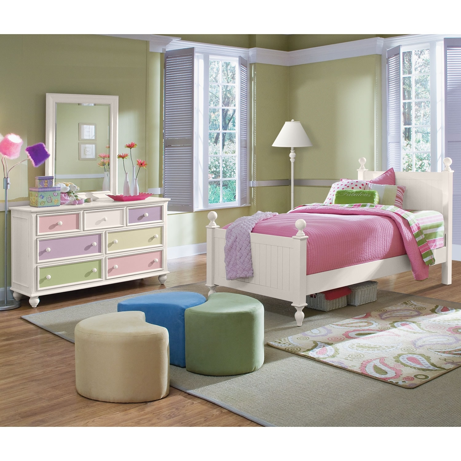 Kids Furniture - Colorworks 5-Piece Twin Bedroom Set - White