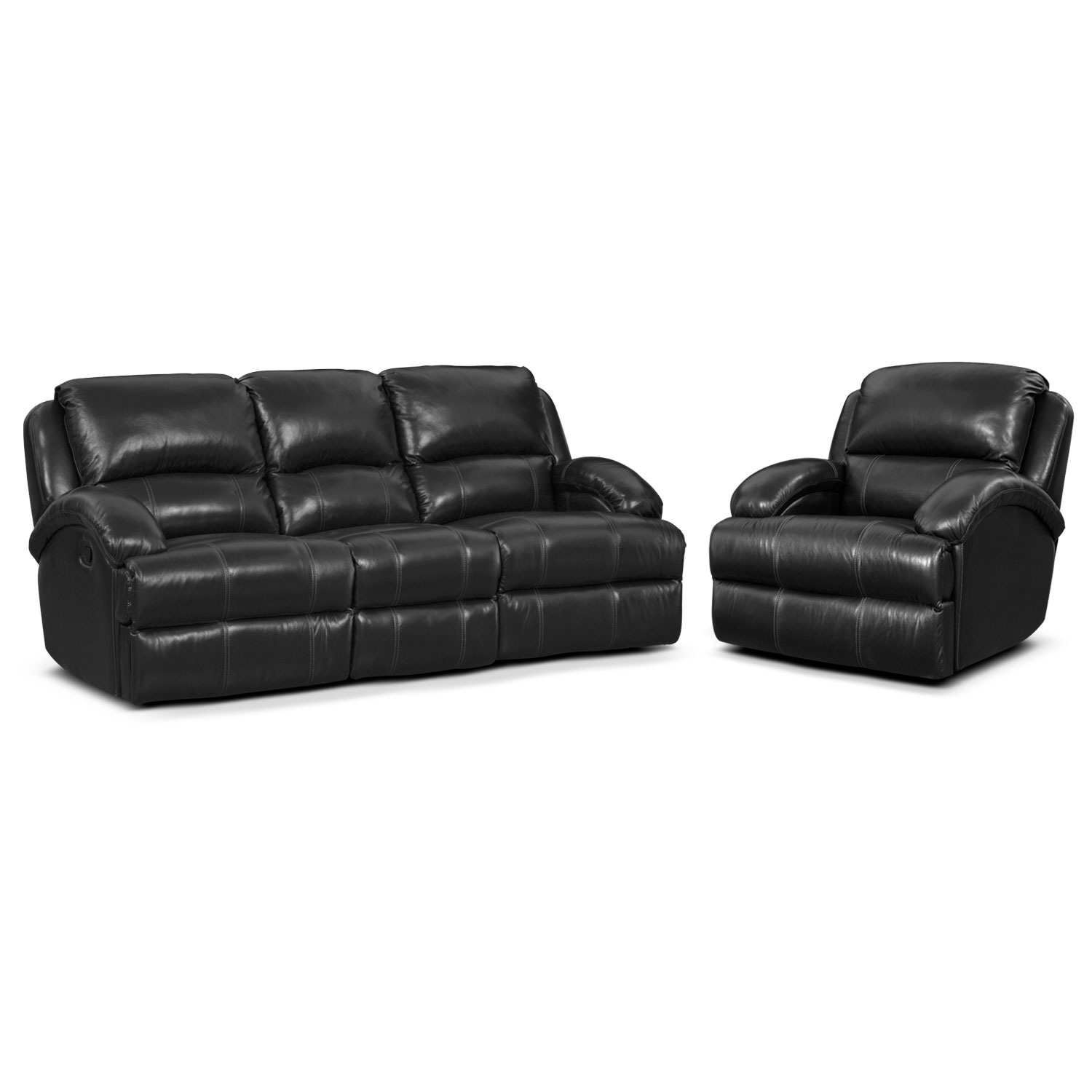 Living Room Furniture - Nolan Dual Reclining Sofa and Glider Recliner Set - Black