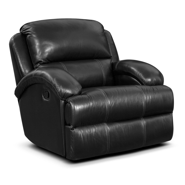 Living Room Furniture - Nolan Glider Recliner - Black