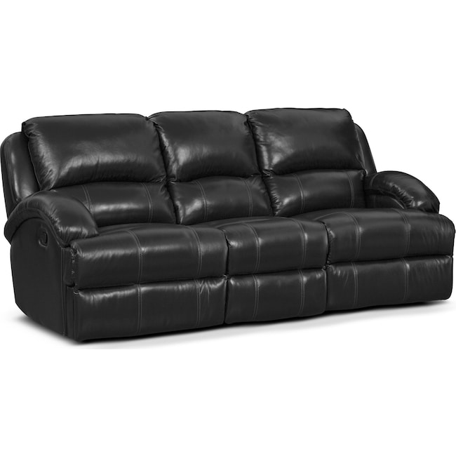 Living Room Furniture - Nolan Dual Reclining Sofa - Black