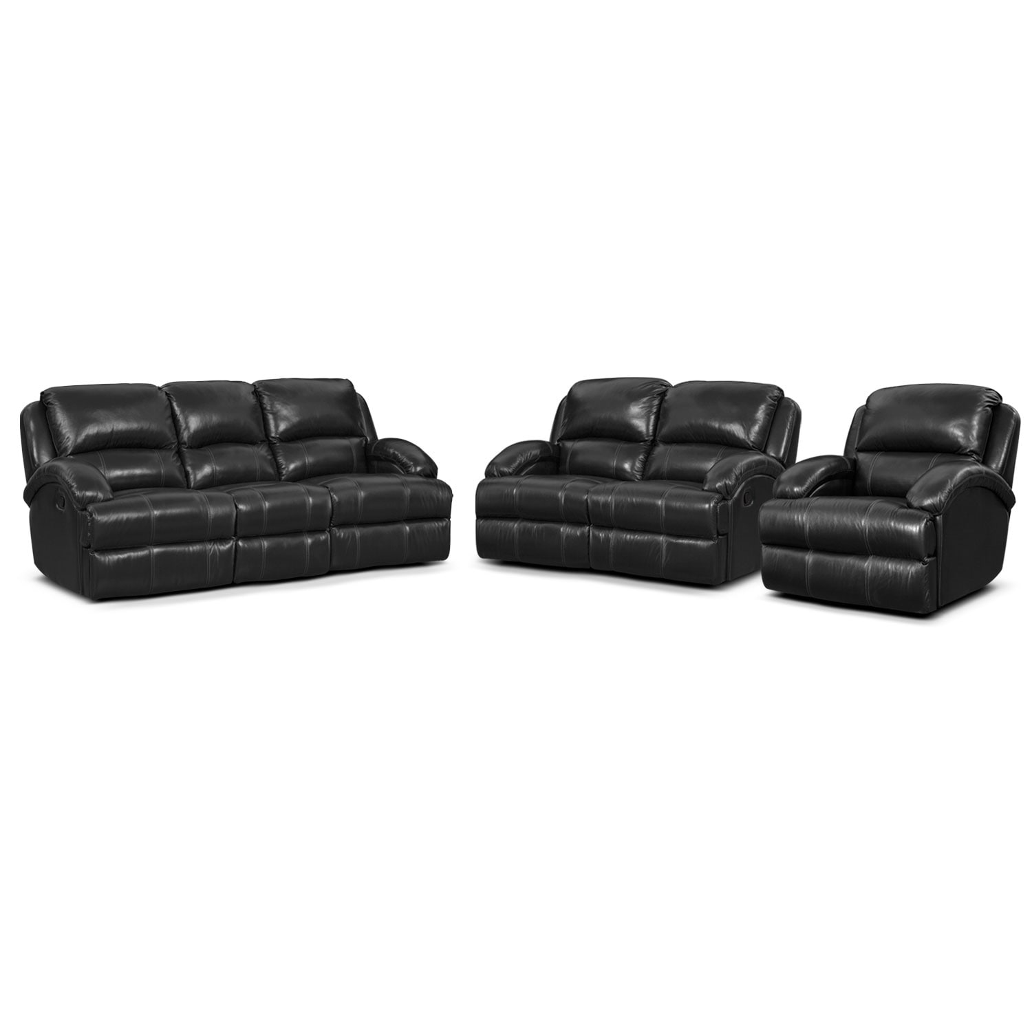 Nolan Dual Reclining Sofa, Reclining Loveseat and Glider Recliner Set - Black