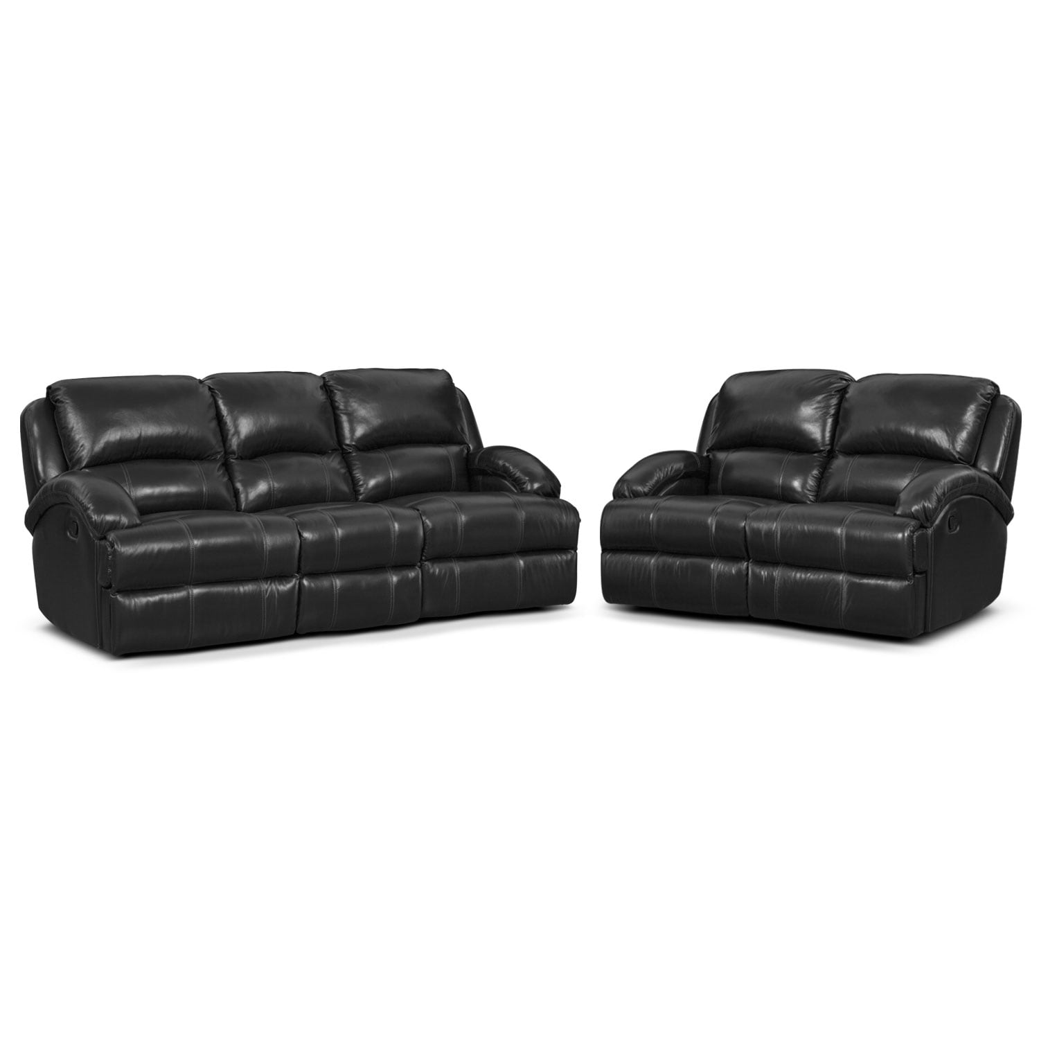 Nolan Dual Reclining Sofa and Reclining Loveseat Set - Black