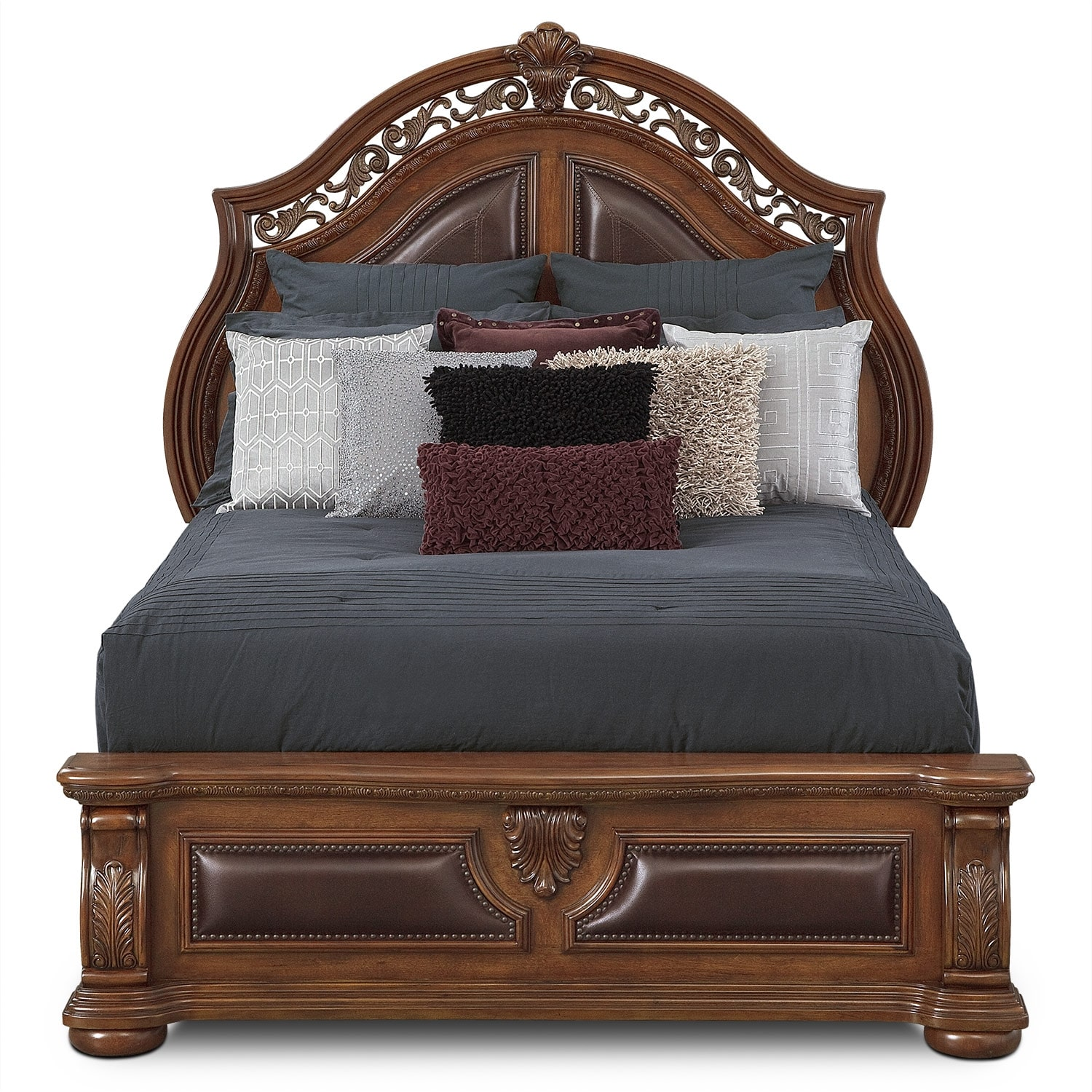 Morocco King Upholstered Bed Pecan American Signature