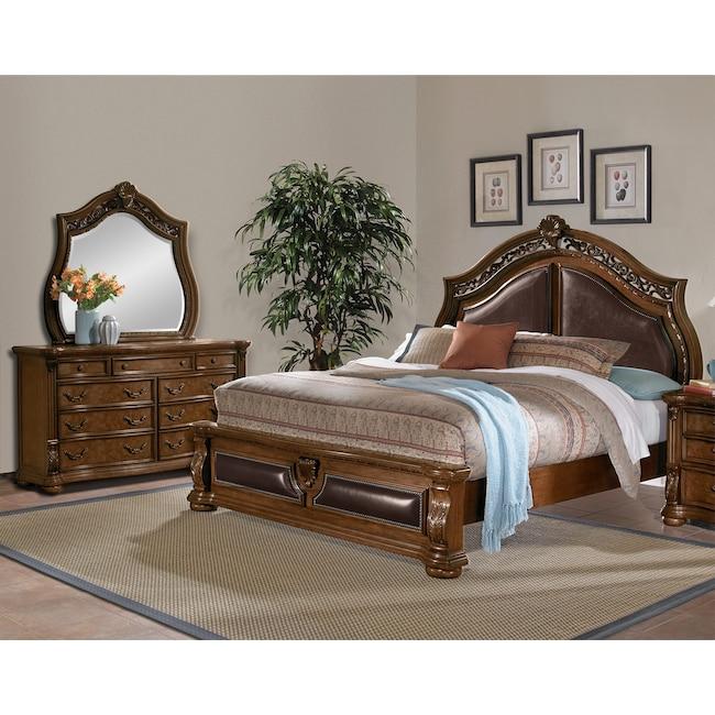Bedroom Furniture - Morocco 5-Piece Queen Upholstered Bedroom Set - Pecan