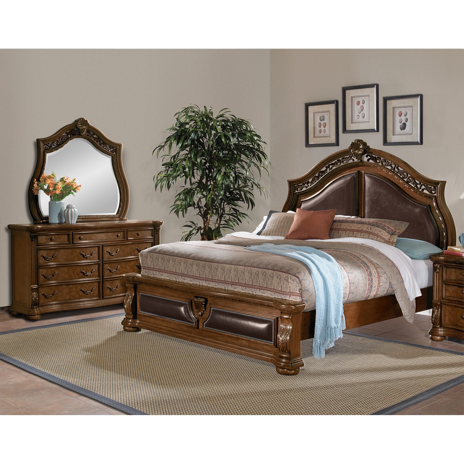 Amazing Morocco 5 Piece Queen Upholstered Bedroom Set   Pecan