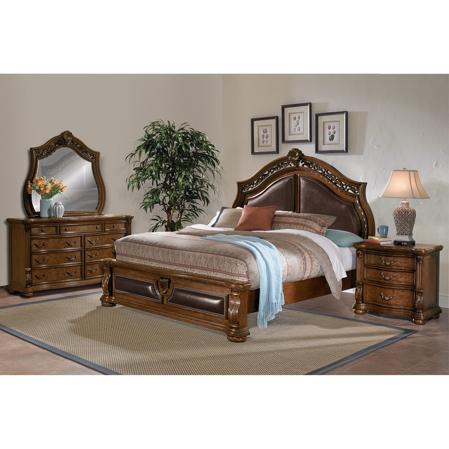 Morocco 6 piece queen upholstered bedroom set pecan for Bedroom 6 piece set